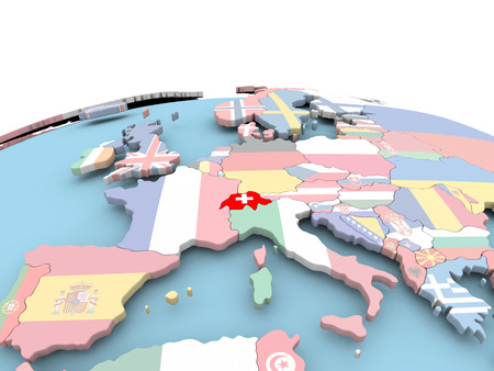 Switzerland on political globe with embedded flags. 3D illustration. Banque d'images - 109343137