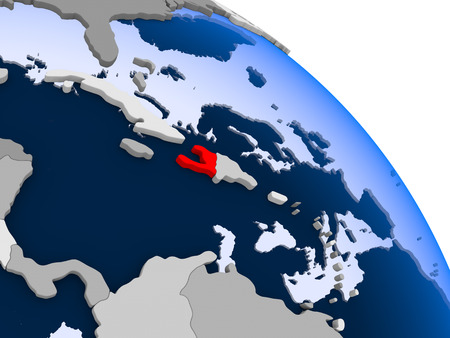 Illustration of Haiti highlighted in red on globe with transparent oceans. 3D illustration. Stock Photo