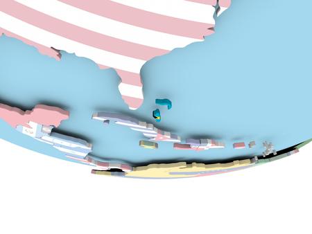 Bahamas on globe with flag. 3D illustration. Stock Photo