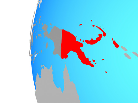 Papua New Guinea on blue political globe. 3D illustration. Stock Illustration - 109340129
