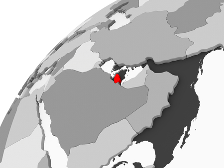Map of Qatar in red on grey political globe with transparent oceans. 3D illustration. Stock Photo