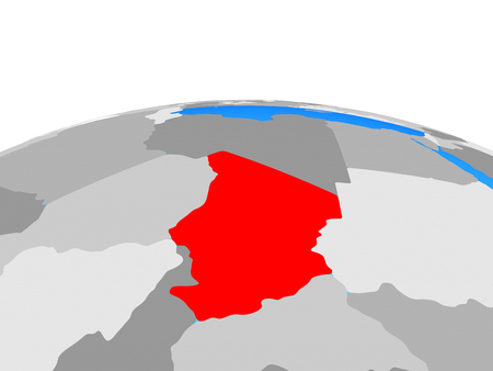 Chad on political globe. 3D illustration. Фото со стока