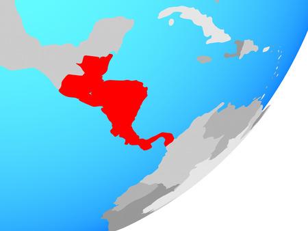 Central America on blue political globe. 3D illustration. Banco de Imagens