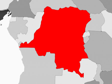 Democratic Republic of Congo in red on grey political map with transparent oceans. 3D illustration. Standard-Bild - 109340386