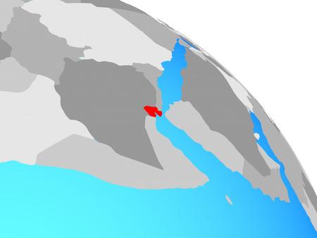 Djibouti on simple blue political globe. 3D illustration. Stock Photo