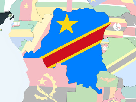 Democratic Republic of Congo on bright political globe with embedded flag. 3D illustration.