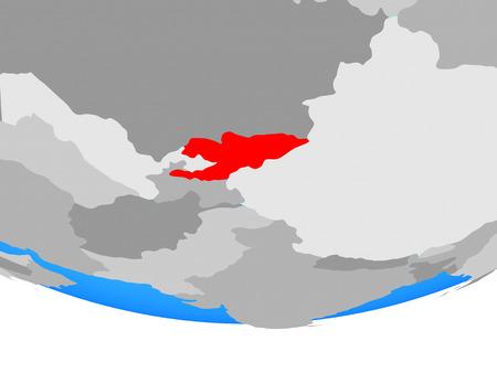 Kyrgyzstan on simple political globe. 3D illustration. Stock Photo