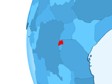 3D render of Rwanda in red on blue political globe with transparent oceans. 3D illustration.