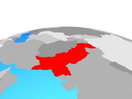 Pakistan on political globe. 3D illustration.