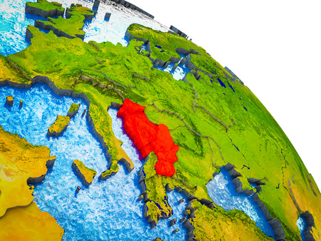 Former Yugoslavia Highlighted on 3D Earth model with water and visible country borders. 3D illustration.