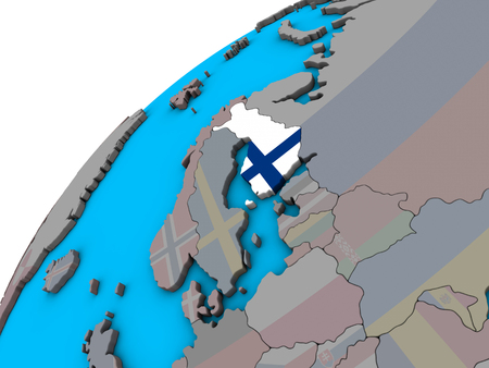 Finland with national flag on 3D globe. 3D illustration.
