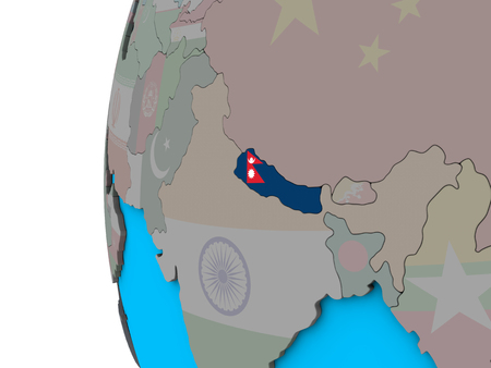 Nepal with national flag on blue political 3D globe. 3D illustration. Фото со стока