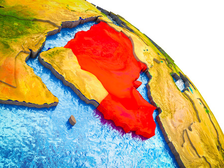 Arabia Highlighted on 3D Earth model with water and visible country borders. 3D illustration.