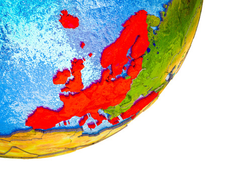 OECD European members on 3D model of Earth with water and divided countries. 3D illustration. Stok Fotoğraf - 109638592