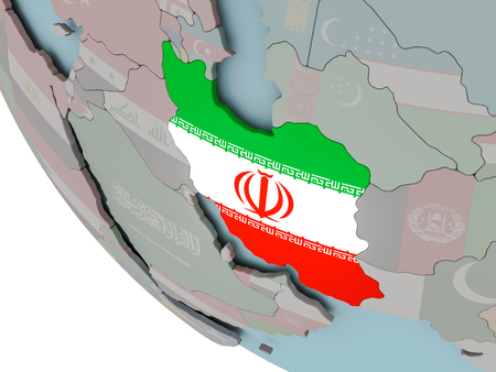 Map of Iran on political globe with embedded flags. 3D illustration. Stockfoto