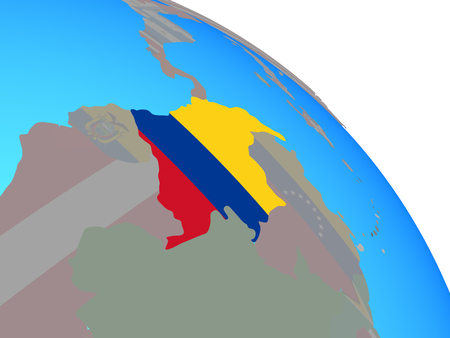 Colombia with national flag on simple blue political globe. 3D illustration. Reklamní fotografie - 109638655