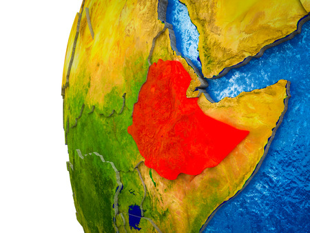 Ethiopia highlighted on 3D Earth with visible countries and watery oceans. 3D illustration. Stockfoto