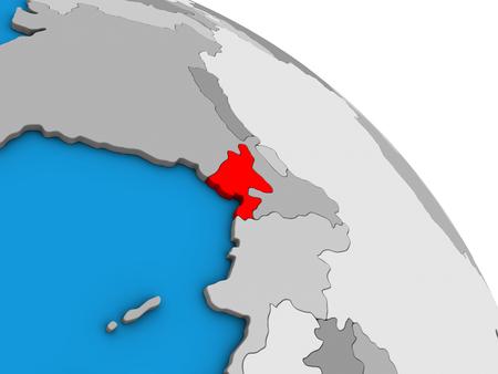 Bangladesh on simple blue political 3D globe. 3D illustration. Stock Photo