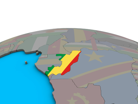 Congo with embedded national flag on political 3D globe. 3D illustration. Standard-Bild - 109638771