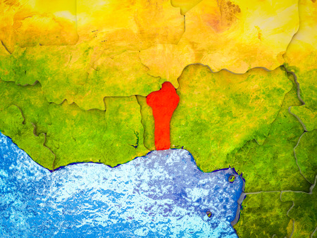 Benin on model of 3D Earth with blue oceans and divided countries. 3D illustration. Stock Photo