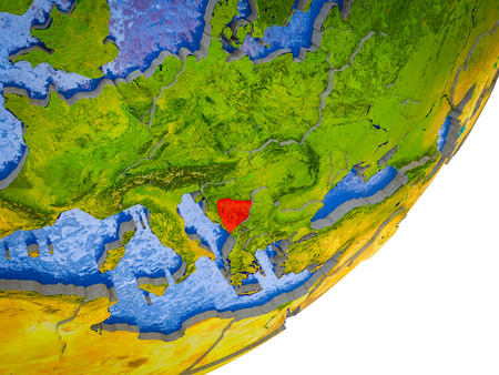 Bosnia and Herzegovina on 3D model of Earth with water and divided countries. 3D illustration.