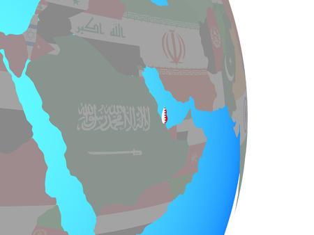 Qatar with national flag on simple political globe. 3D illustration. Stock Illustration - 109638826