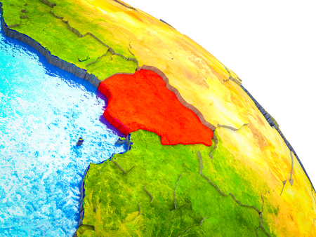 Nigeria Highlighted on 3D Earth model with water and visible country borders. 3D illustration.