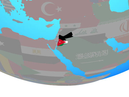 Jordan with national flag on simple political globe. 3D illustration.