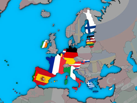 Eurozone member states with embedded national flags on blue political 3D globe. 3D illustration.