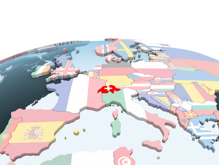 Switzerland on bright political globe with embedded flag. 3D illustration. Banque d'images - 109638921