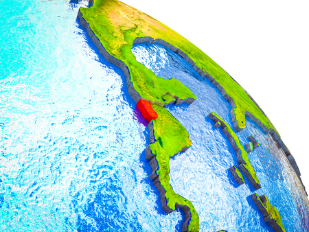 El Salvador Highlighted on 3D Earth model with water and visible country borders. 3D illustration.
