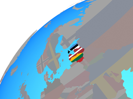 Baltic States with embedded national flags on globe. 3D illustration.