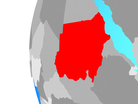 Sudan on blue political globe. 3D illustration. Stock Photo
