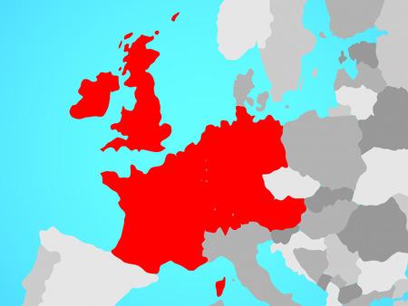 Western Europe on blue political globe. 3D illustration.