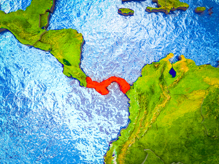 Panama on model of 3D Earth with blue oceans and divided countries. 3D illustration.