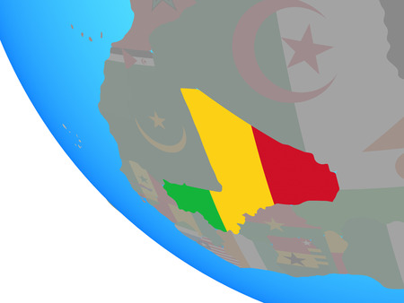 Mali with national flag on simple globe. 3D illustration.