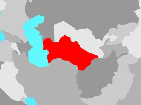 Turkmenistan on blue political globe. 3D illustration.