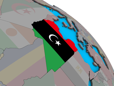 Libya with embedded national flag on simple blue political 3D globe. 3D illustration.