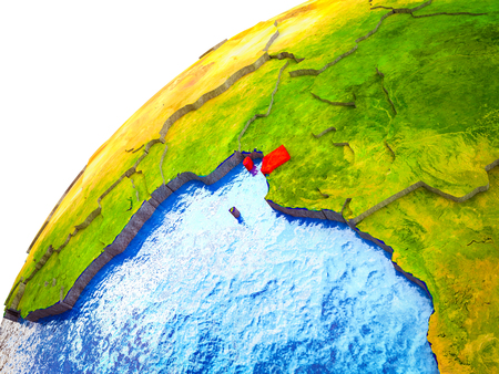 Equatorial Guinea on 3D Earth model with visible country borders. 3D illustration.