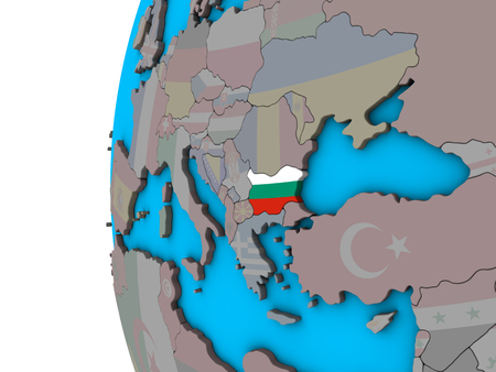 Bulgaria with national flag on blue political 3D globe. 3D illustration.