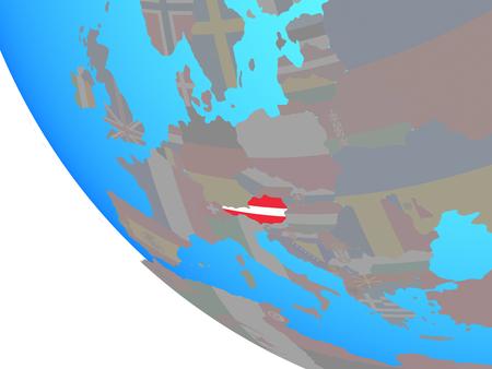 Austria with national flag on simple globe. 3D illustration. Standard-Bild - 109639309