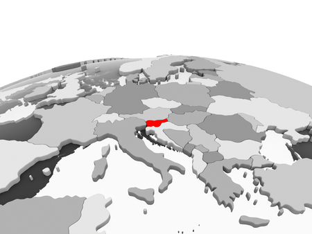 Slovenia in red on grey model of political globe with transparent oceans. 3D illustration.