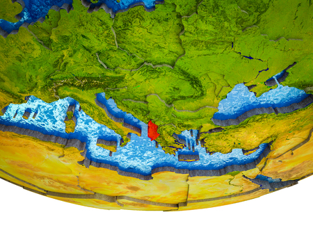 Albania on 3D Earth with divided countries and watery oceans. 3D illustration.