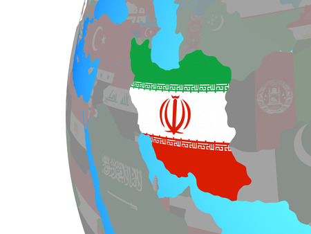 Iran with embedded national flag on blue political globe. 3D illustration. Stock Photo