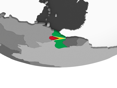 Guyana on gray political globe with embedded flag. 3D illustration. Stock Photo