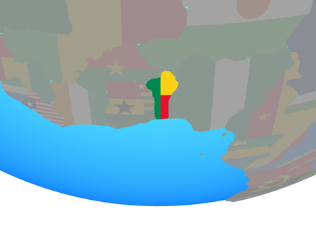 Benin with national flag on simple political globe. 3D illustration. Stock Photo