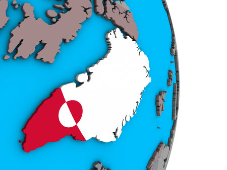 Greenland with embedded national flag on simple political 3D globe. 3D illustration.