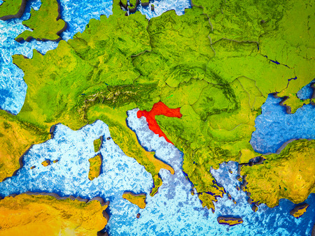 Croatia on model of 3D Earth with blue oceans and divided countries. 3D illustration.