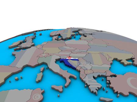 Croatia with embedded national flag on political 3D globe. 3D illustration. Фото со стока