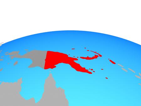 Papua New Guinea on political globe. 3D illustration. Stock Photo